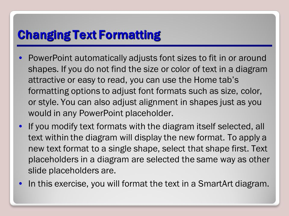Changing Text Formatting