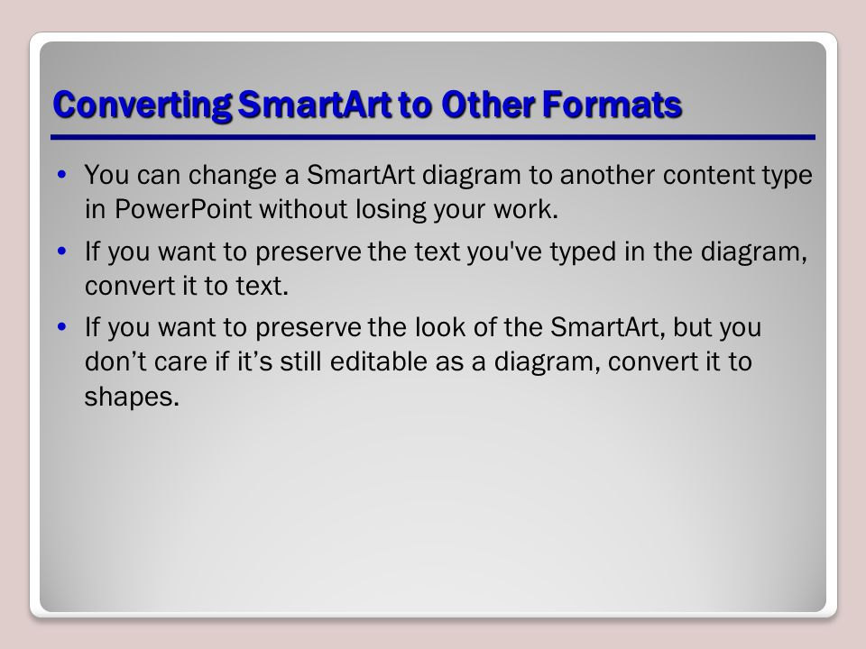 Converting SmartArt to Other Formats