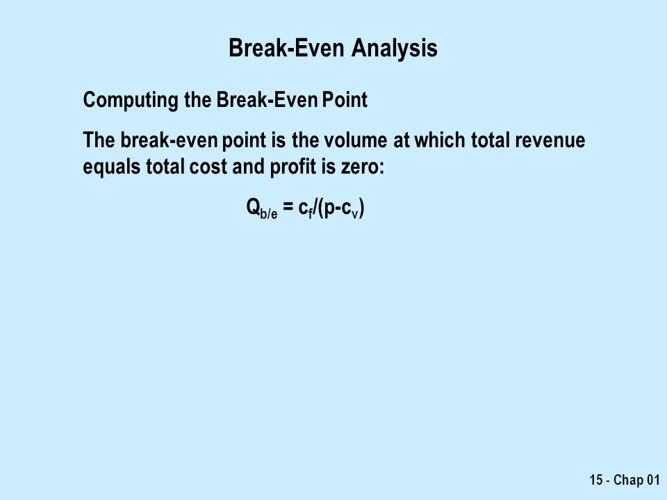 Break-Even Analysis Computing the Break-Even Point
