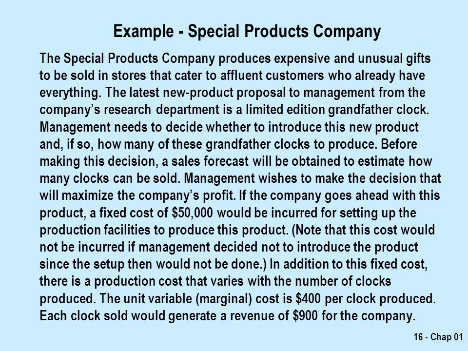 Example - Special Products Company