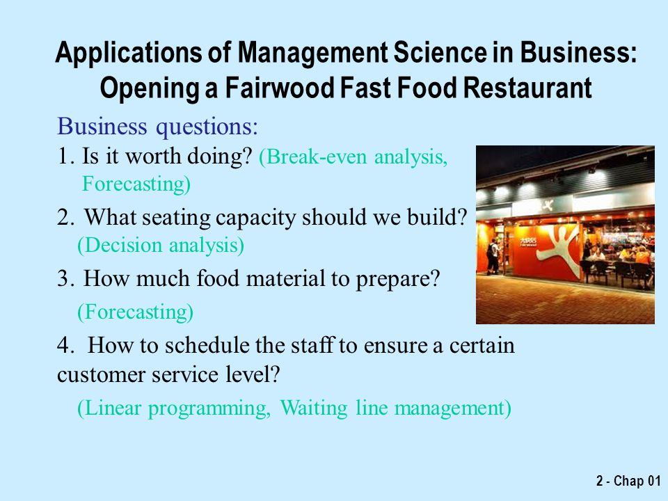 Applications of Management Science in Business: Opening a Fairwood Fast Food Restaurant