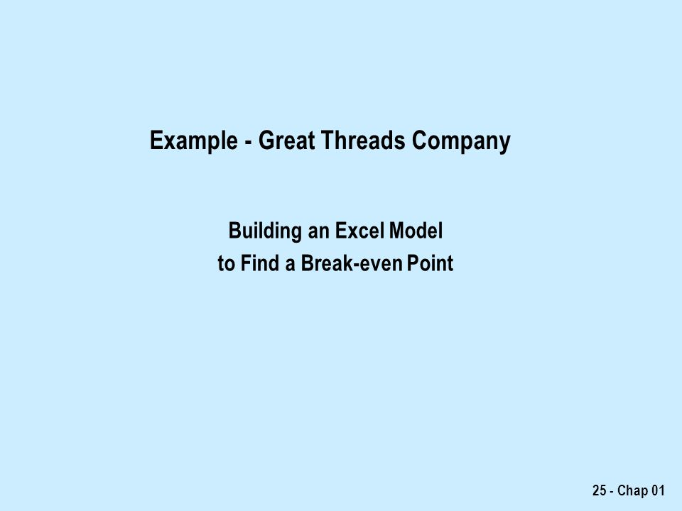 Example - Great Threads Company
