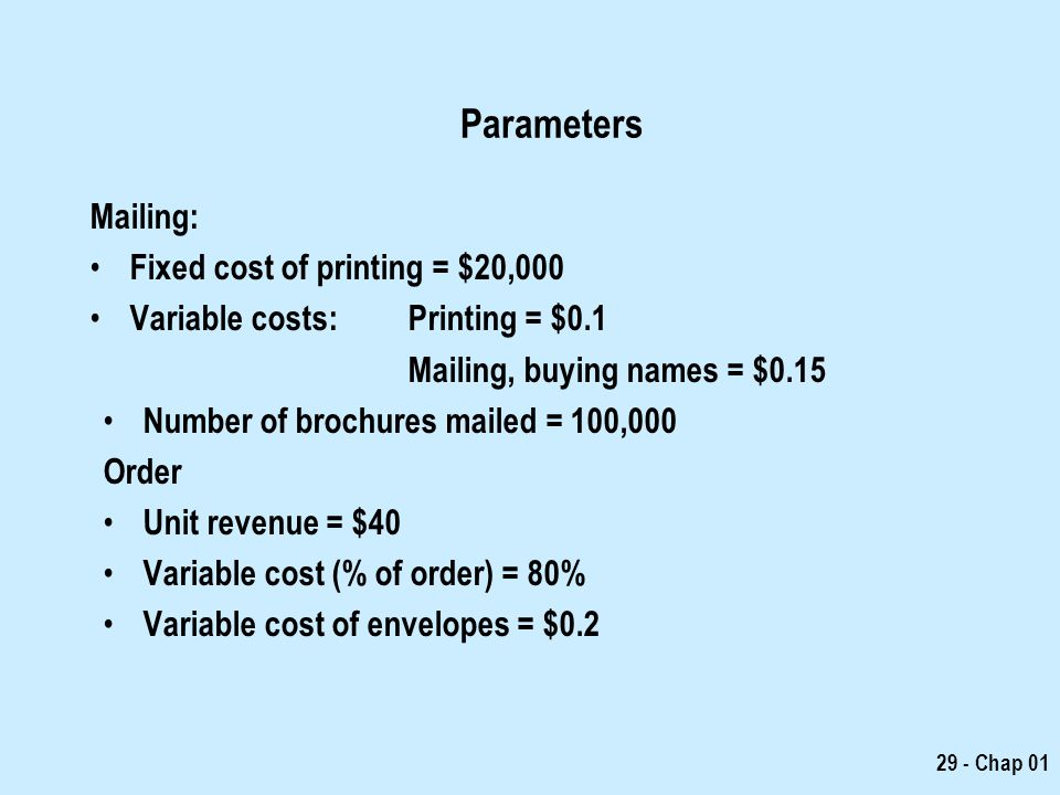 Parameters Mailing: Fixed cost of printing = $20,000