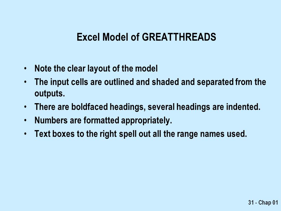 Excel Model of GREATTHREADS