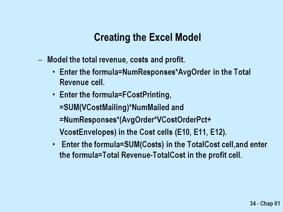 Creating the Excel Model
