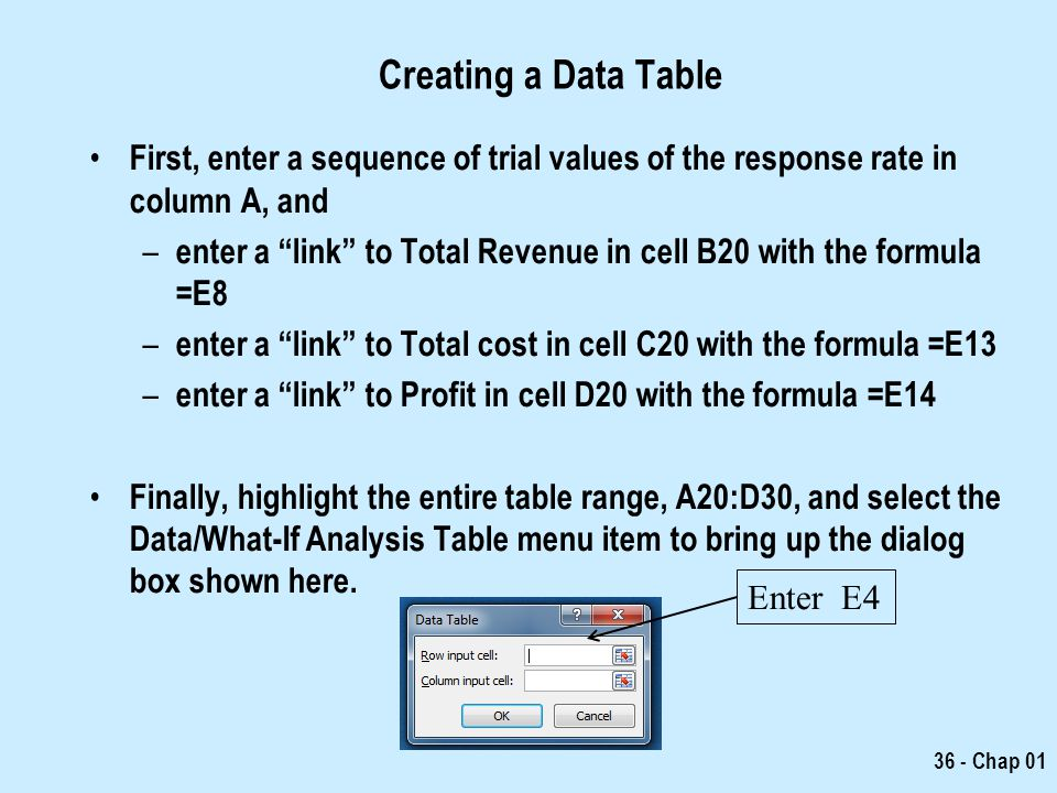 Creating a Data Table First, enter a sequence of trial values of the response rate in column A, and.