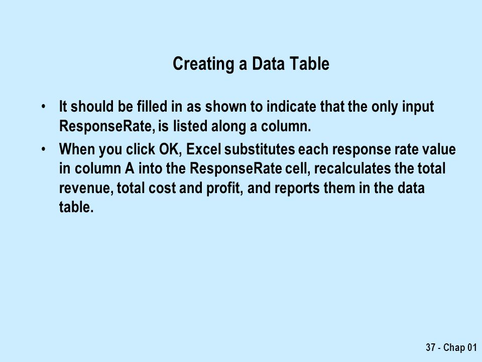 Creating a Data Table It should be filled in as shown to indicate that the only input ResponseRate, is listed along a column.
