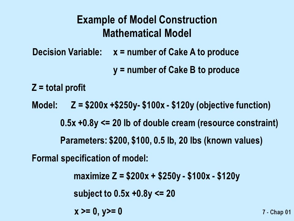 Example of Model Construction Mathematical Model