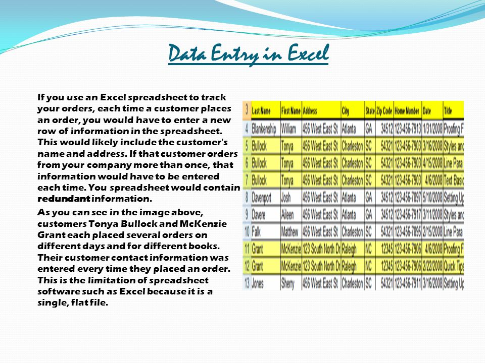 Data Entry in Excel
