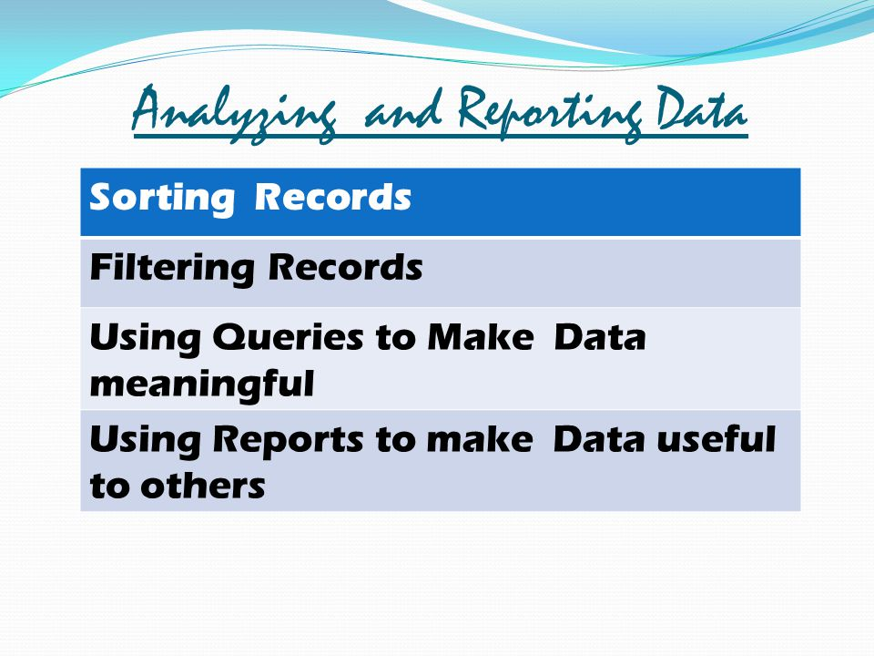 Analyzing and Reporting Data