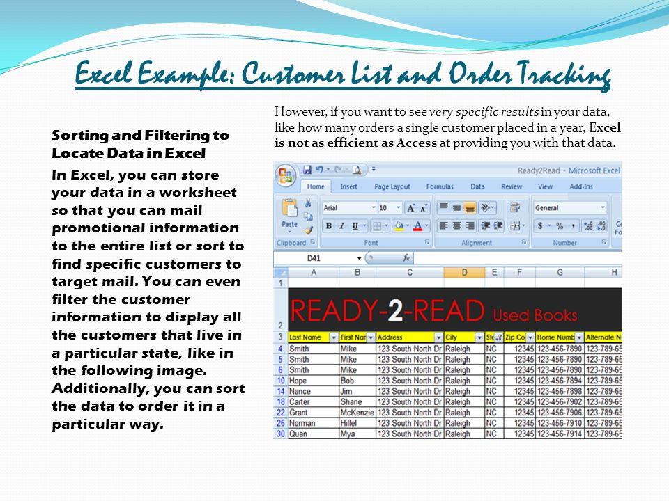 Excel Example: Customer List and Order Tracking