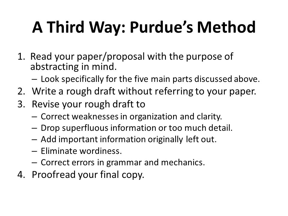 A Third Way: Purdue's Method