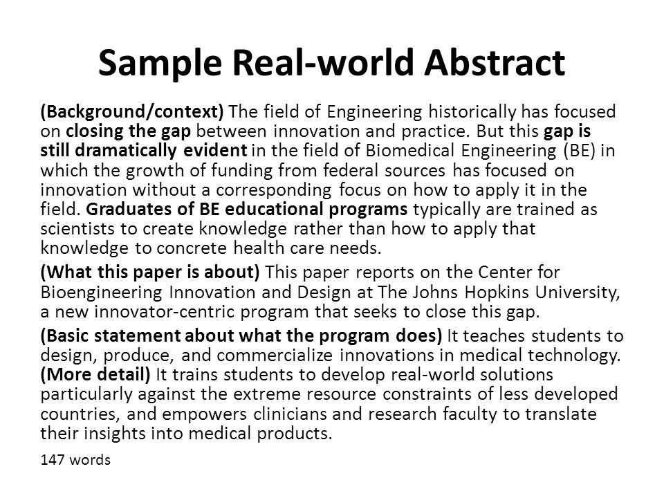 Sample Real-world Abstract