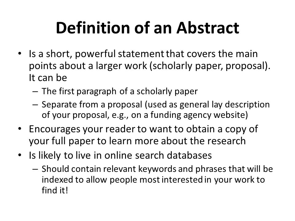Definition of an Abstract