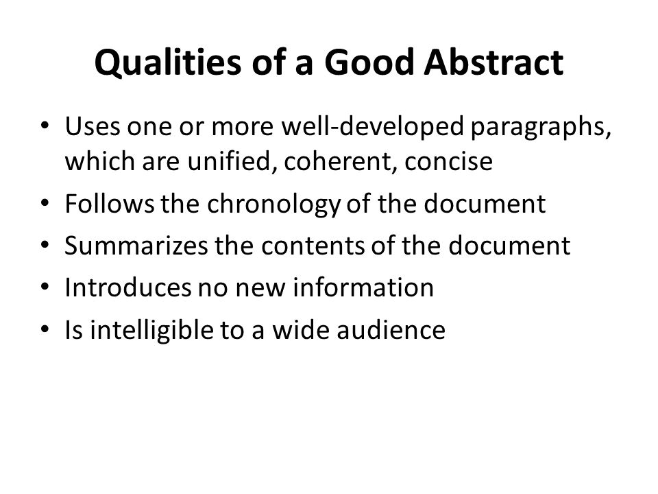 Qualities of a Good Abstract