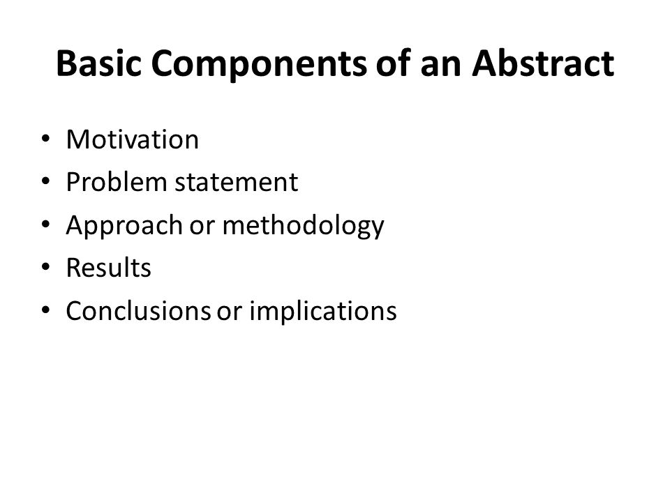Basic Components of an Abstract