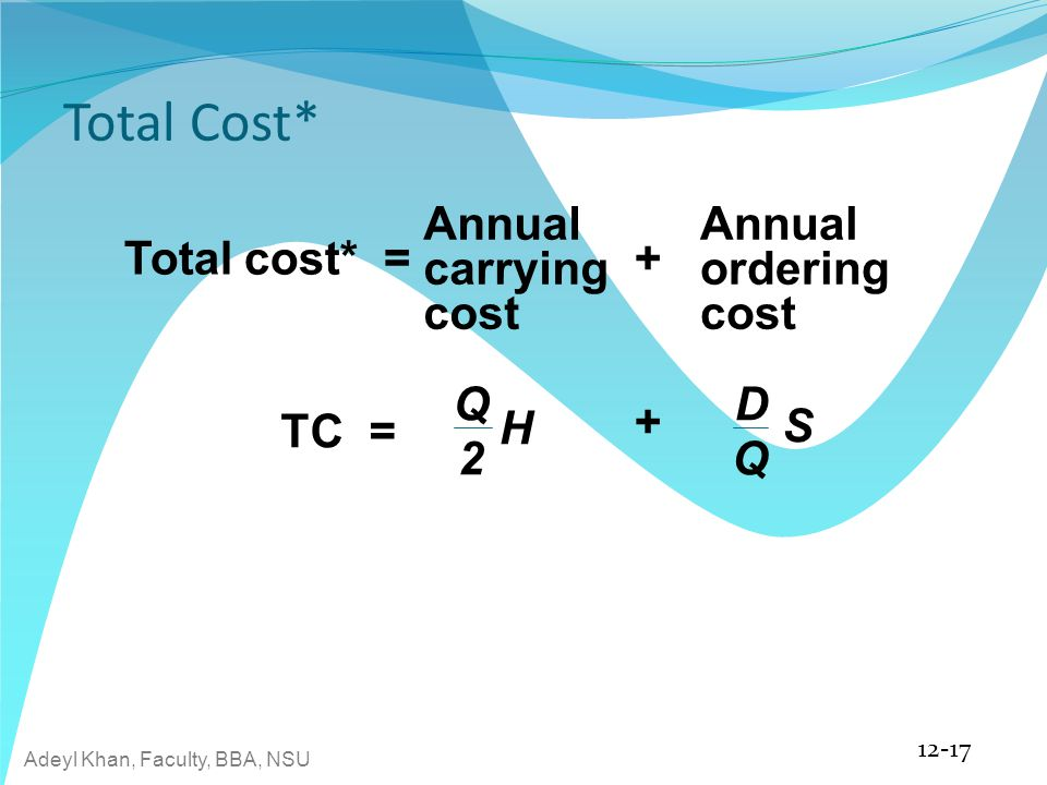 Total Cost* Annual carrying cost Annual ordering cost Total cost* = +