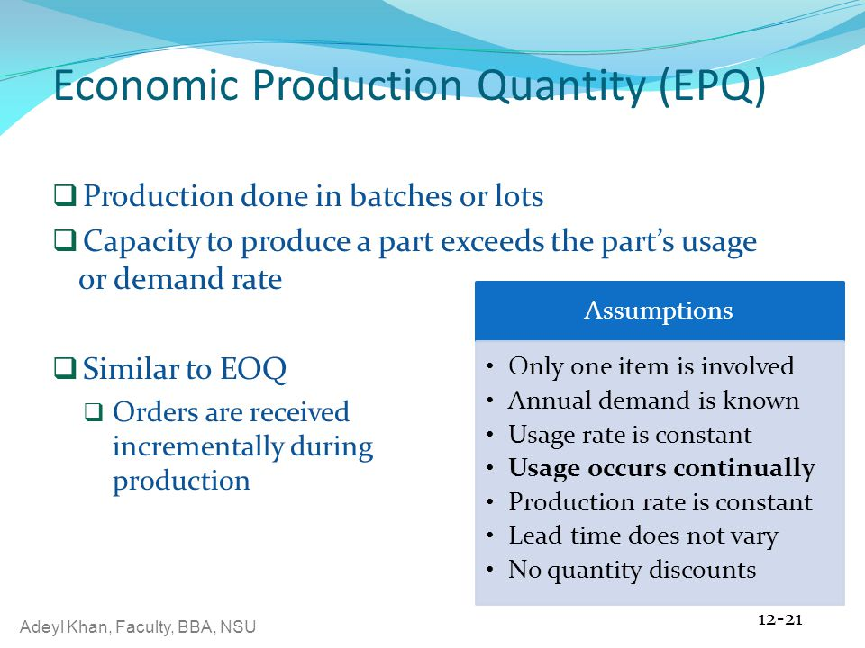 economic order quantity and economic production The most economic size of order to place it is one of the oldest classical production economic order quantity.
