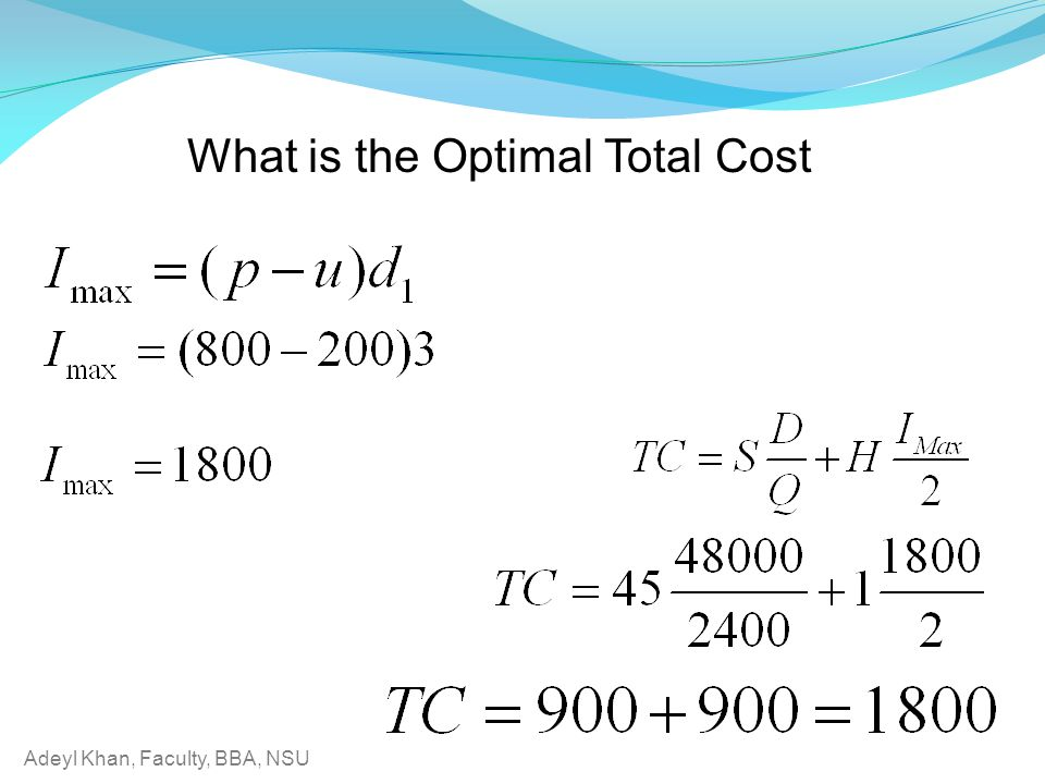What is the Optimal Total Cost