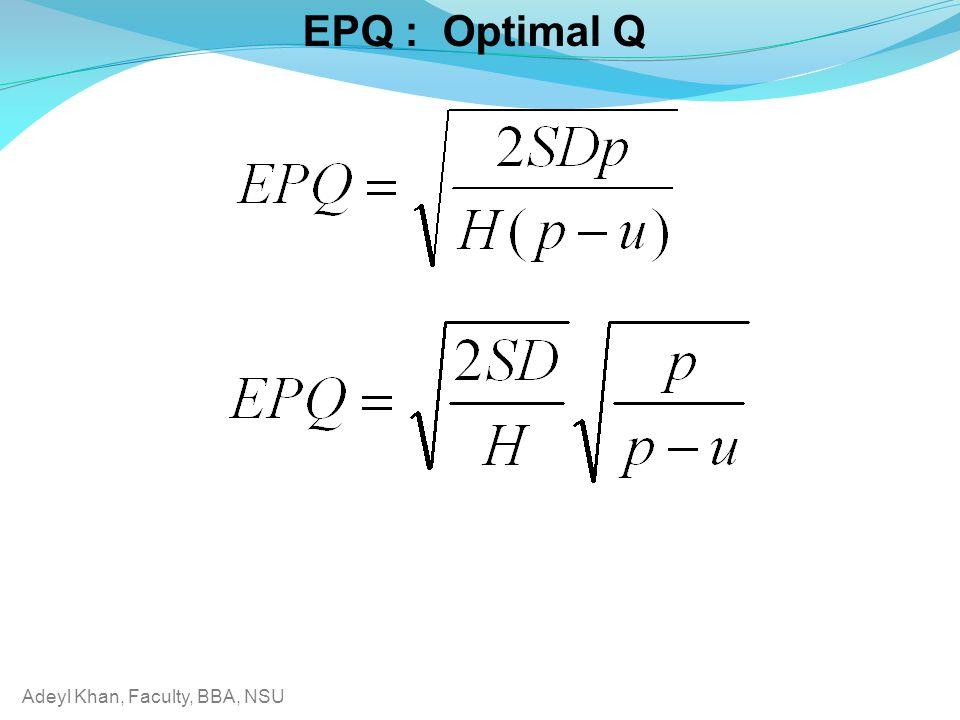 EPQ : Optimal Q