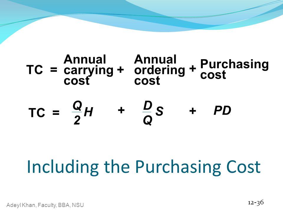 Including the Purchasing Cost