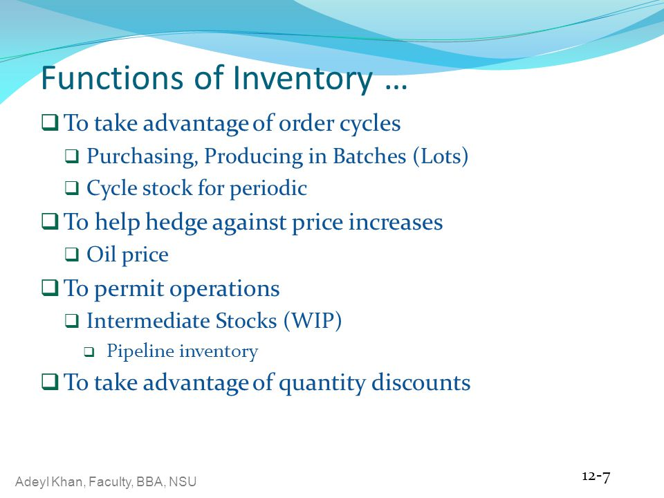 Functions of Inventory …
