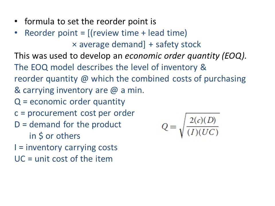 formula to set the reorder point is