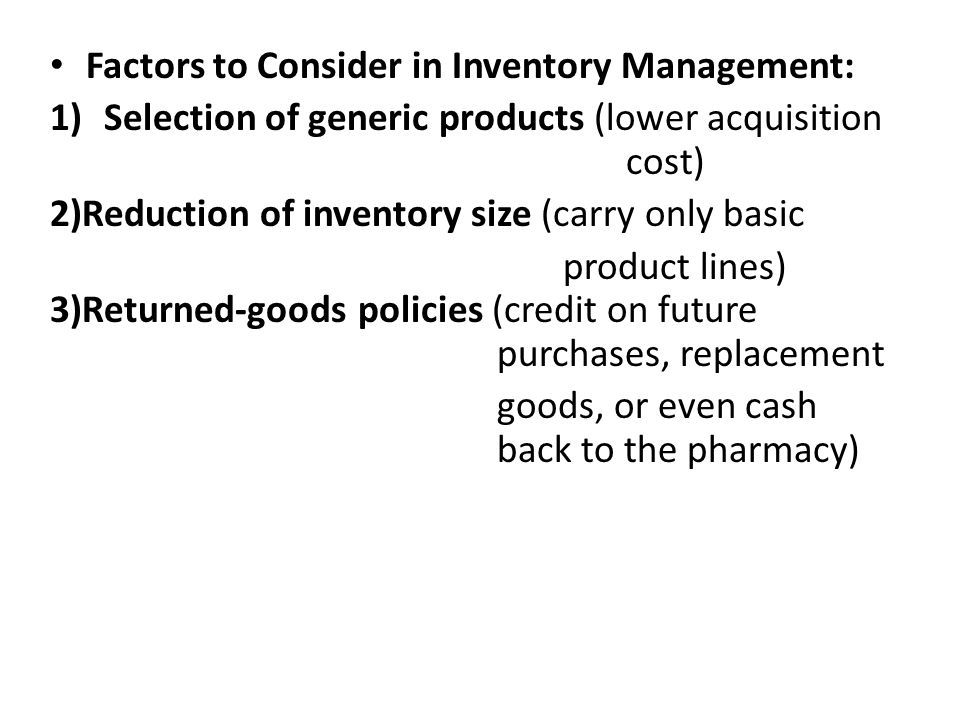 Factors to Consider in Inventory Management: