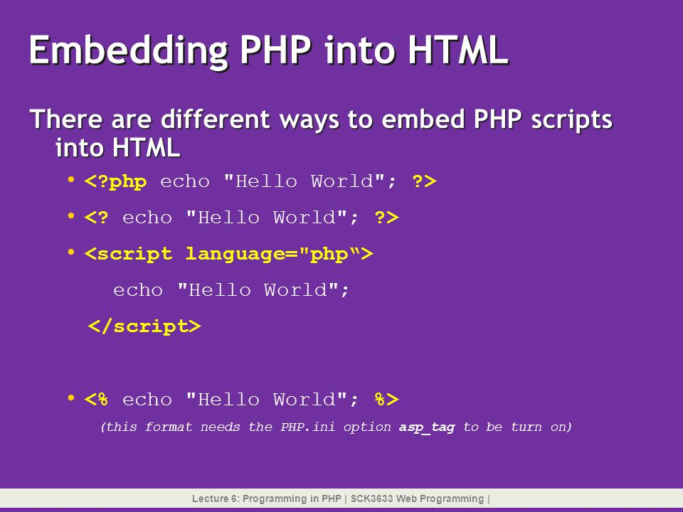 Embedding PHP into HTML