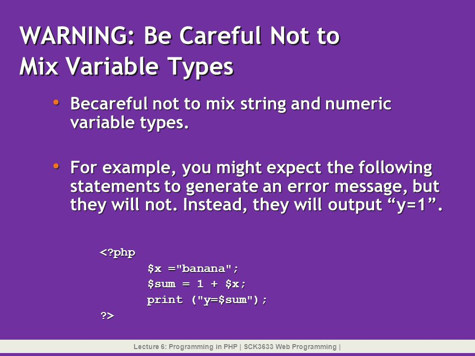 WARNING: Be Careful Not to Mix Variable Types