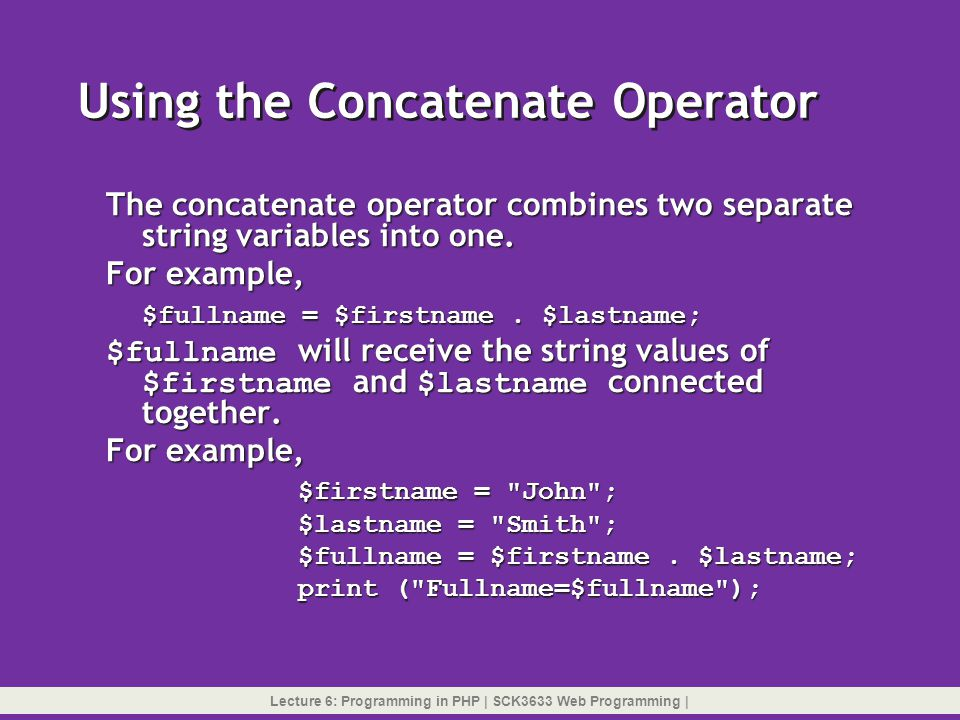 Using the Concatenate Operator