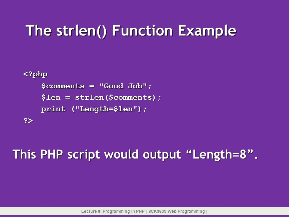 The strlen() Function Example