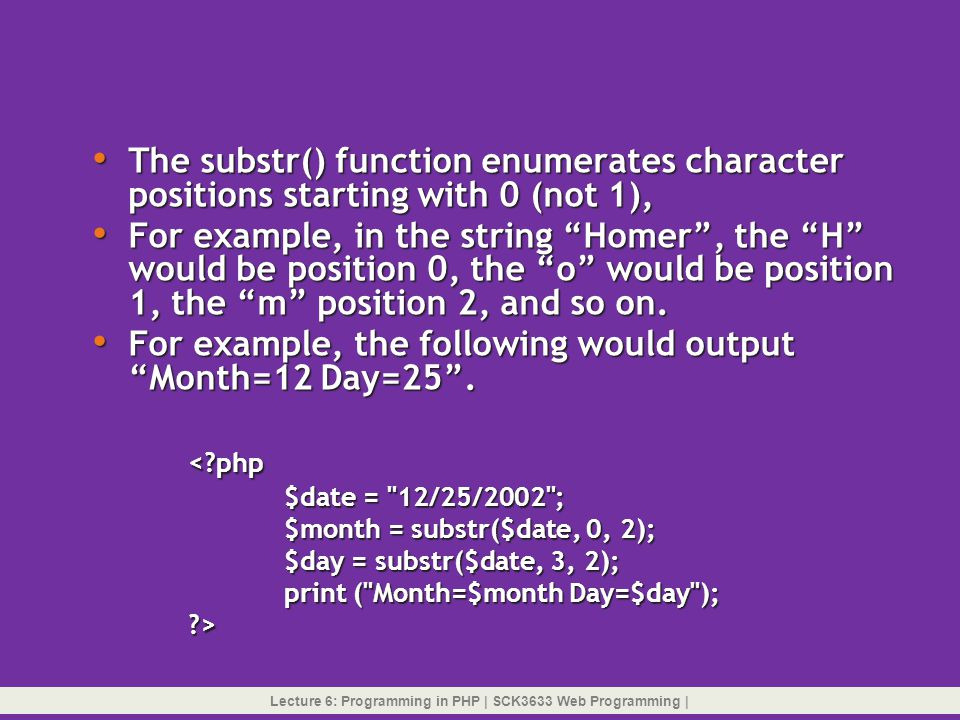 Lecture 6: Programming in PHP | SCK3633 Web Programming |