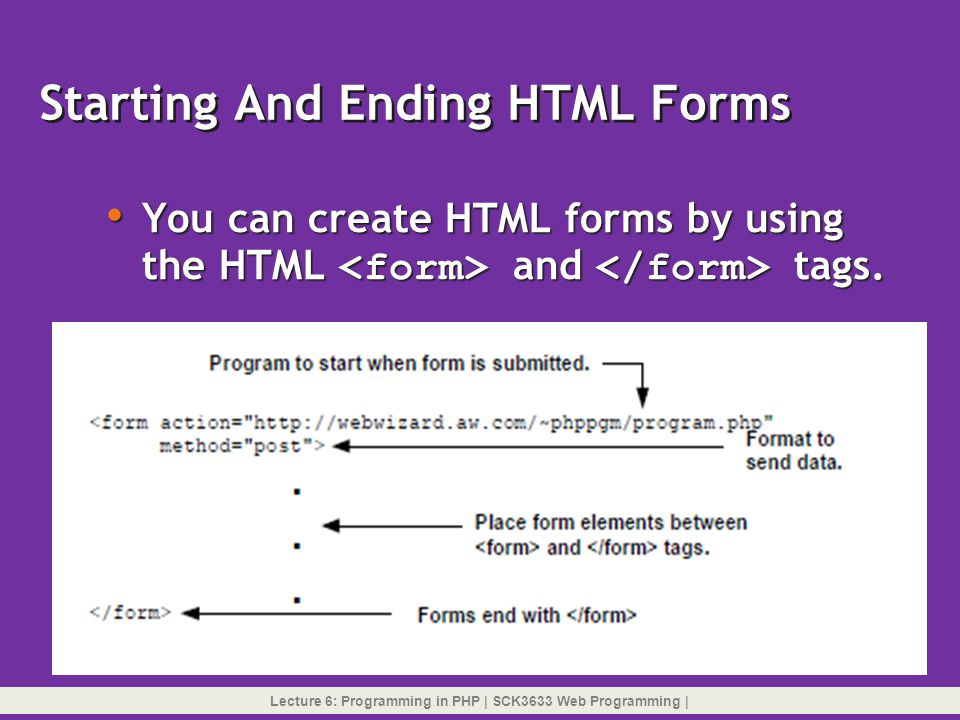 Starting And Ending HTML Forms