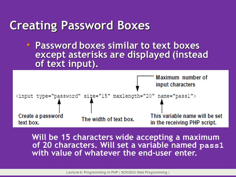 Creating Password Boxes
