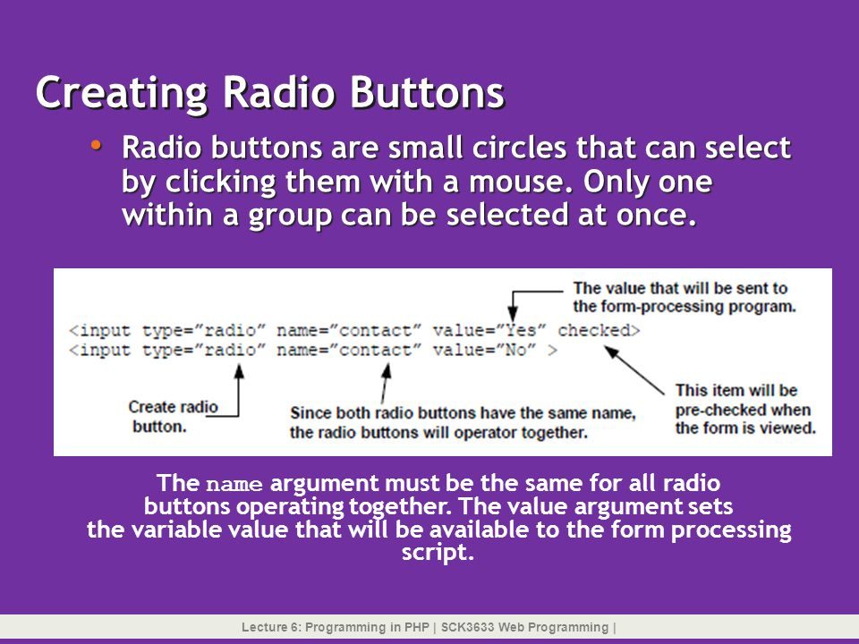 Creating Radio Buttons