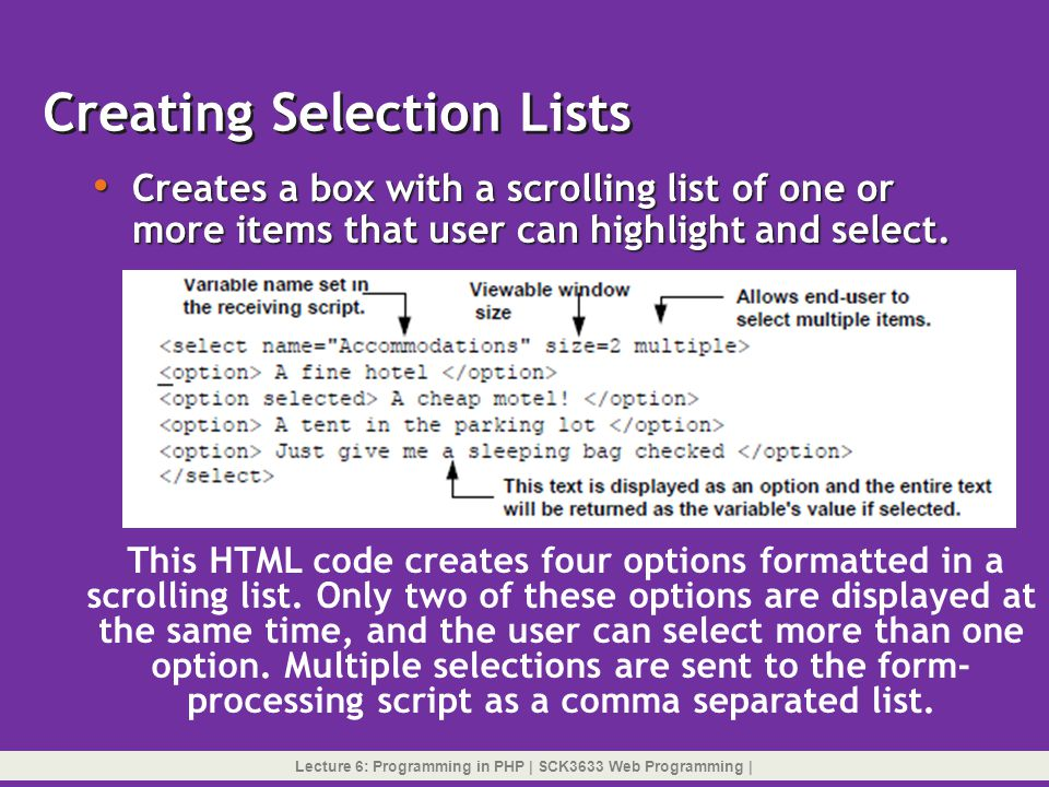 Creating Selection Lists