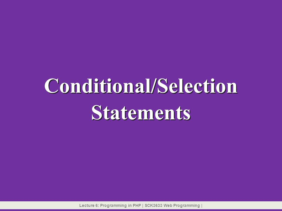 Conditional/Selection Statements