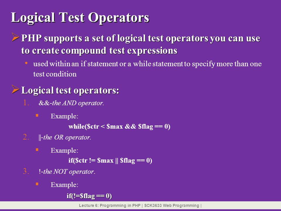 Logical Test Operators