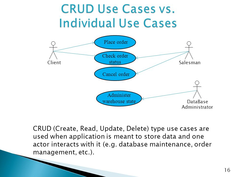 CRUD Use Cases vs. Individual Use Cases