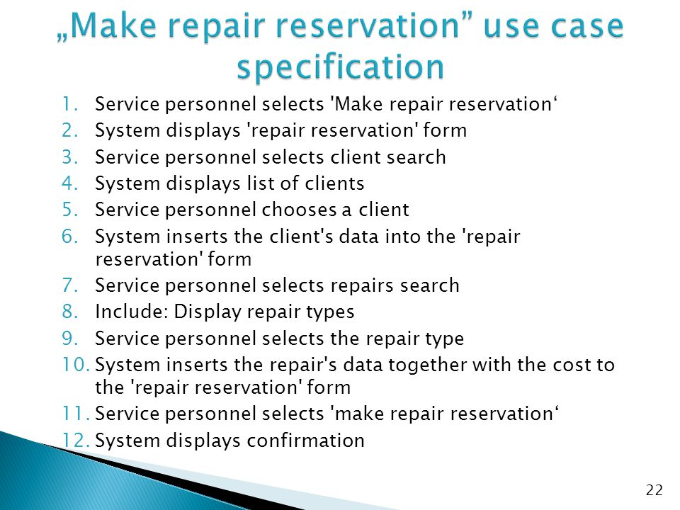 """Make repair reservation use case specification"