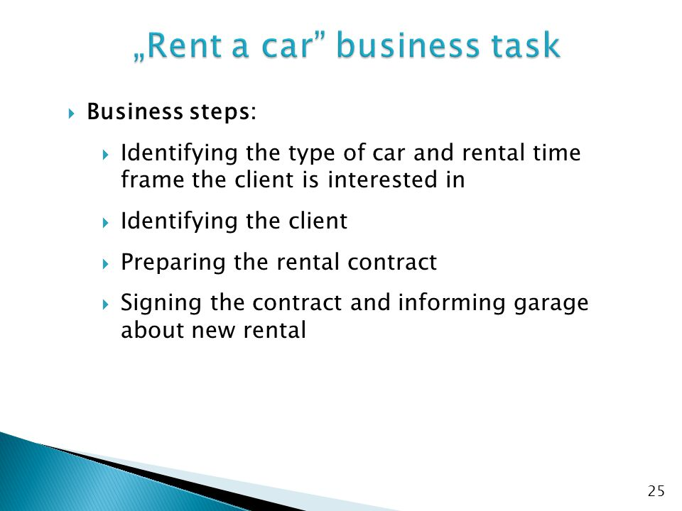 """Rent a car business task"