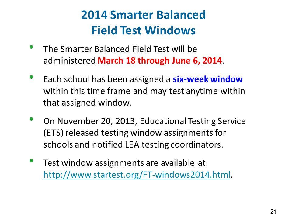 2014 Smarter Balanced Field Test Windows