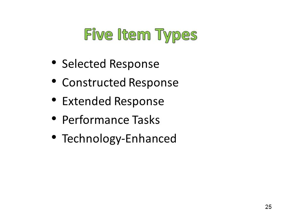 Five Item Types Selected Response Constructed Response