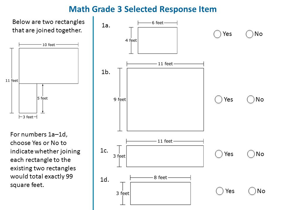 Math Grade 3 Selected Response Item