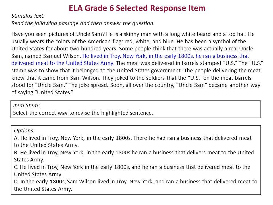 ELA Grade 6 Selected Response Item