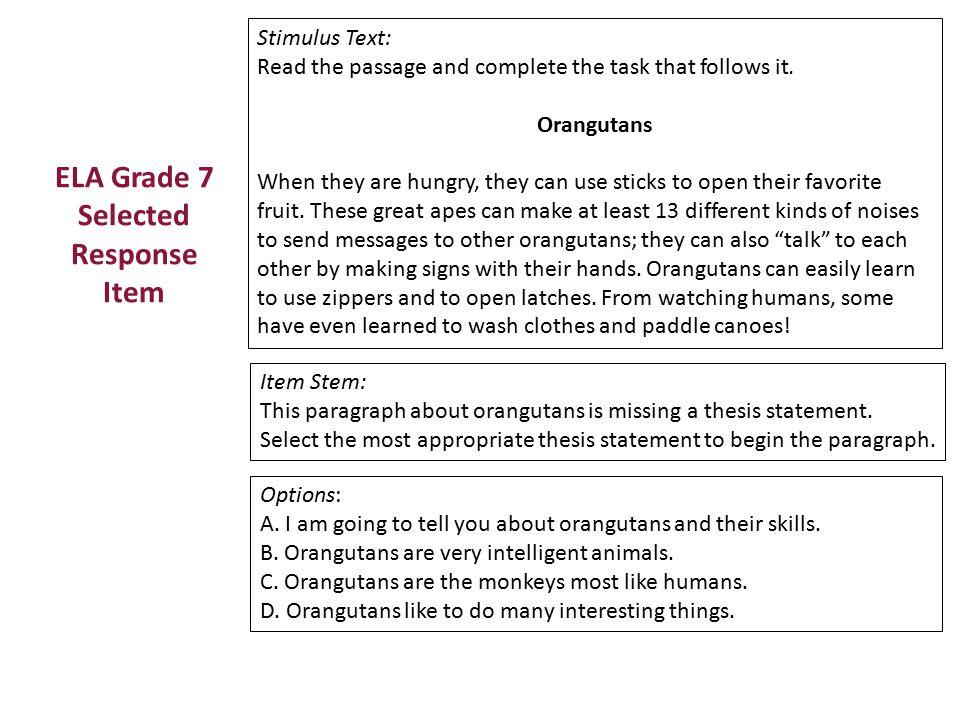 ELA Grade 7 Selected Response Item