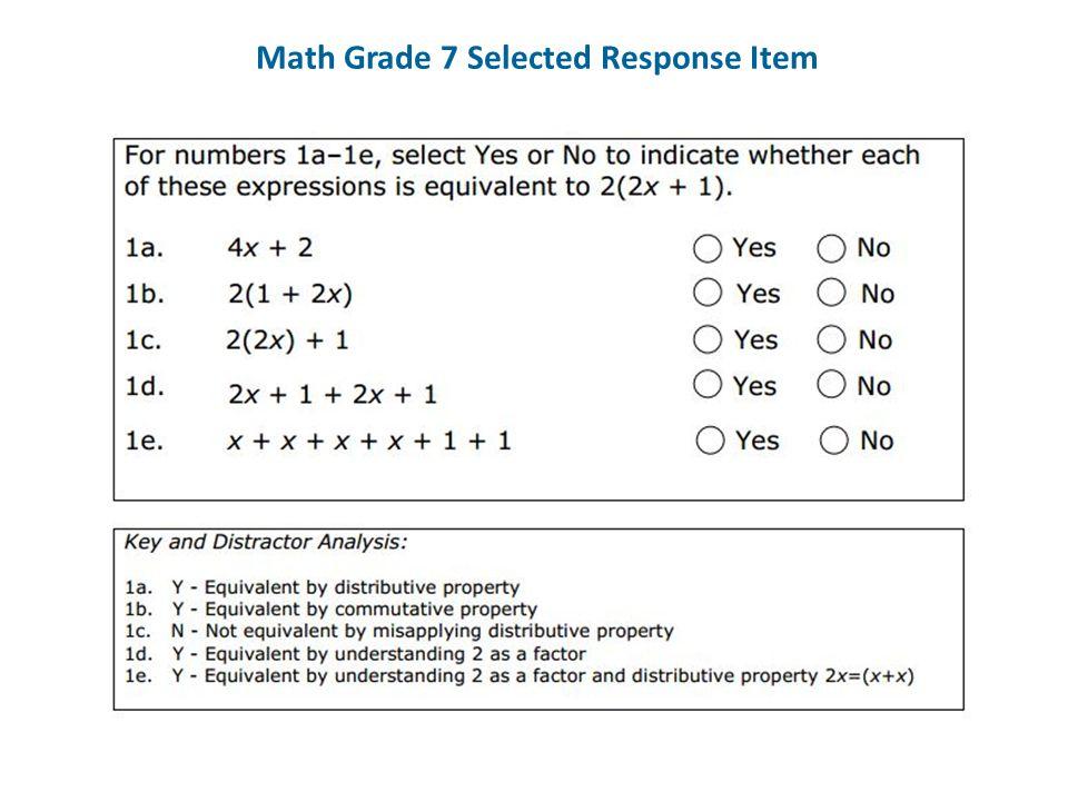 Math Grade 7 Selected Response Item