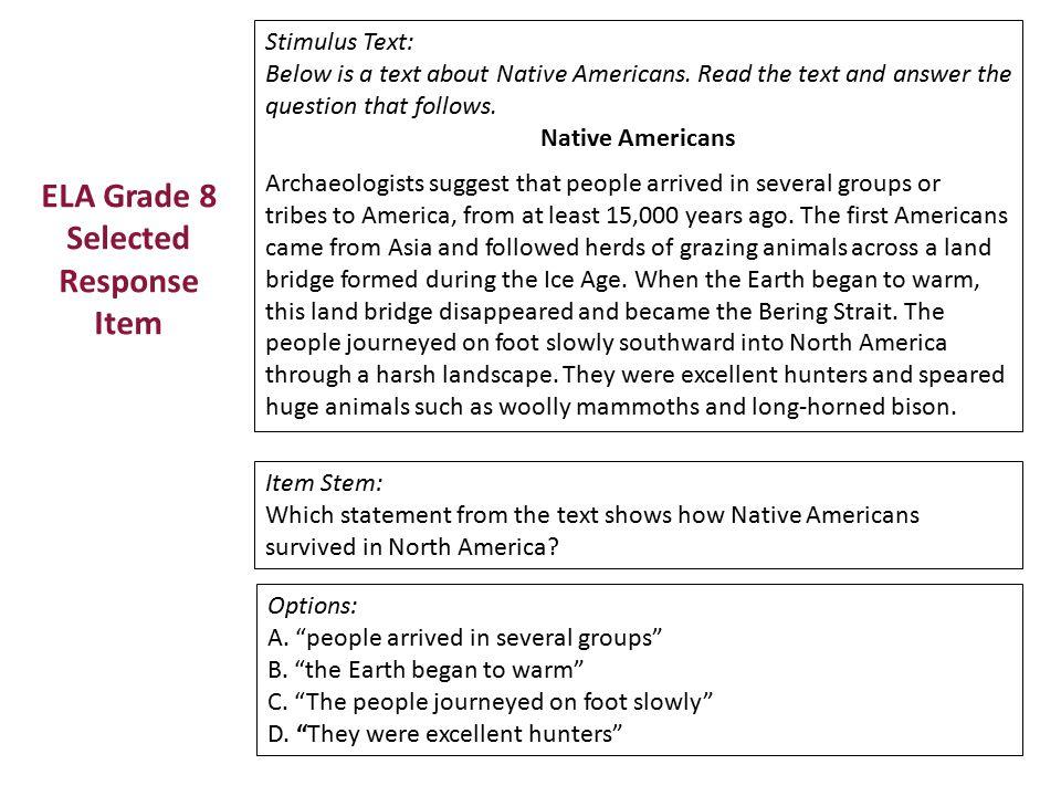 ELA Grade 8 Selected Response Item