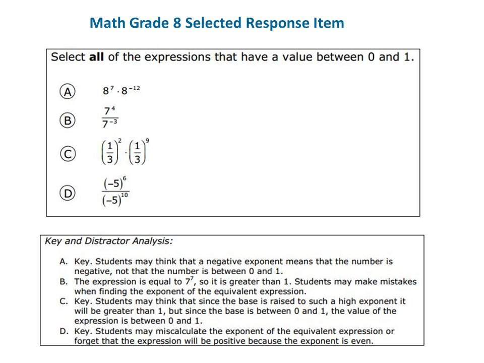 Math Grade 8 Selected Response Item